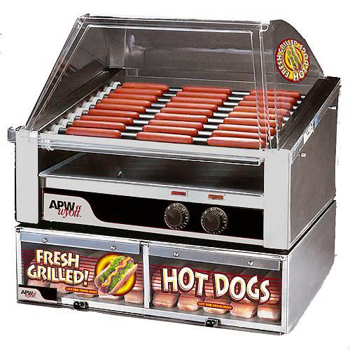 APW Wyott Slanted HotRod Roller Grills - Tru-Turn Surface Rollers HRS-31S