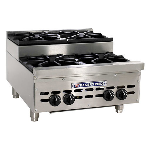 Baker's Pride Heavy Duty Countertop Gas Step Up Open 4 Burner Range HDOBS-424