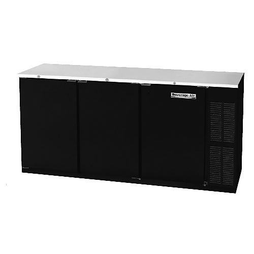 "Beverage Air Refrigerated Solid Door Back Bar Storage Cabinet - 72"" Black BB72R-1-B"