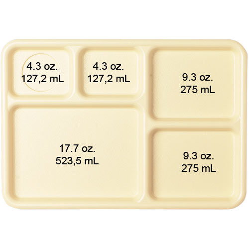 Cambro Camwear Correctional 5 Compartment Tray -  Beige 10145CW133 2