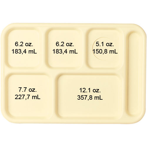 Cambro Budget School Compartment Tray -  Tan BCT1014161 2
