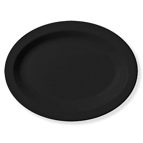"Cambro Camwear® Polycarbonate Narrow Rim Platter 12"" x 9"" - Black 120CWP110"