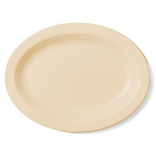"Cambro Camwear® Polycarbonate Narrow Rim Platter 12"" x 9"" - Beige 120CWP133"