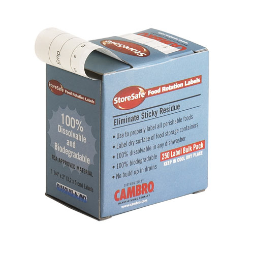 Cambro StoreSafe Food Rotation Label 24 Pack - Half Size 1252SLB250