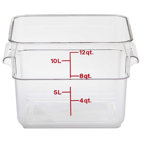 Cambro CamSquares Camwear Storage Container- 12 qt Clear 12SFSCW135