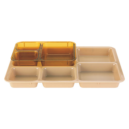 Cambro Heat-Resistant Plastic Tray on Tray Meal Delivery System - Insert - 3 Compartment Heat-Resistant 853FH150