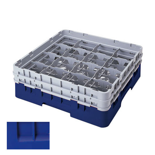 "Cambro Navy Blue Full Size Camrack® Glass Rack - 16 Compartment - 6 7/8"" H 16S638186"