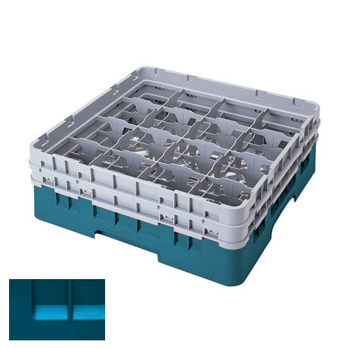 "Cambro Teal Full Size Camrack® Glass Rack - 16 Compartment - 6 7/8"" H 16S638414"