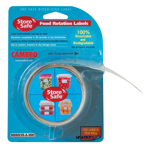 """Cambro StoreSafe Food Rotation Label Blister 20 Pack - 2"""" x 3"""" 23SL"""