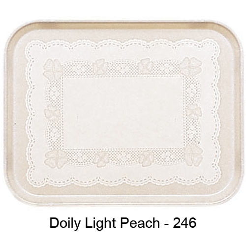 "Cambro Rectangular Camtray - 17 7/8"" x 25 3/4"" Doily Lite Peach 1826246"