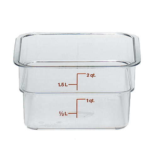 Cambro CamSquares Camwear Storage Container- 2 qt Clear 2SFSCW135