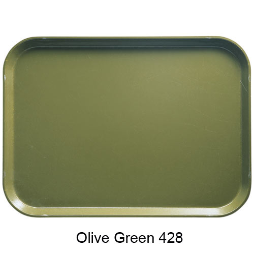 "Cambro Oval Camtray - 19 1/4"" x 24"" Olive Green 2500428 2"