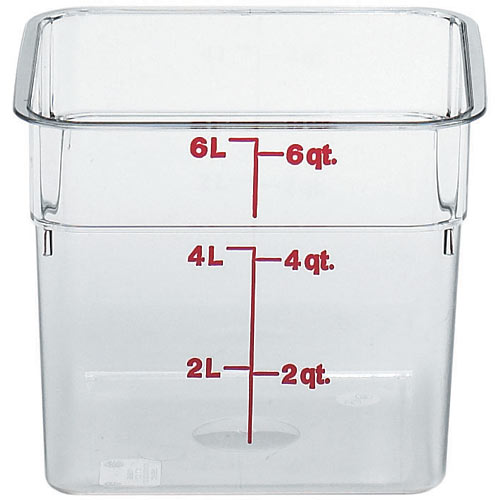 Cambro CamSquares Camwear Storage Container- 6 qt Clear 6SFSCW135