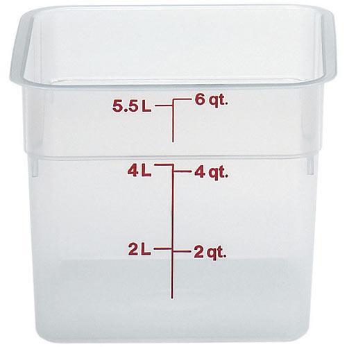 Cambro CamSquares Storage Container- 6 qt Translucent 6SFSPP190