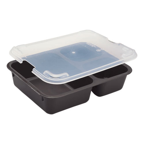 Cambro Co-Polymer Tray on Tray Meal Delivery System - Insert - 3 Compartment Brown 853FCP167