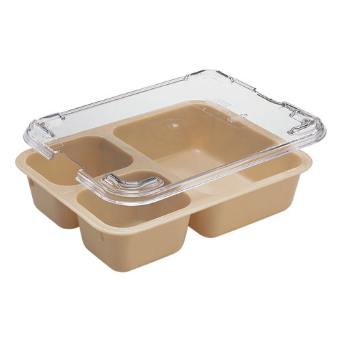 Cambro Camwear Tray on Tray Meal Delivery System - Insert - 3 Compartment Beige 853FCW133