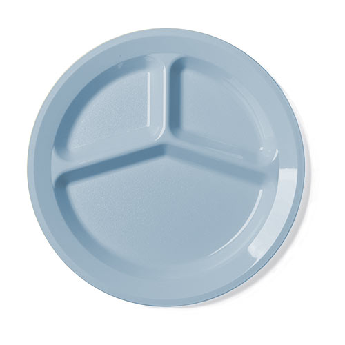 "Cambro Camwear® Polycarbonate 3 Compartment Plate 9"" - Slate Blue 93CW401"