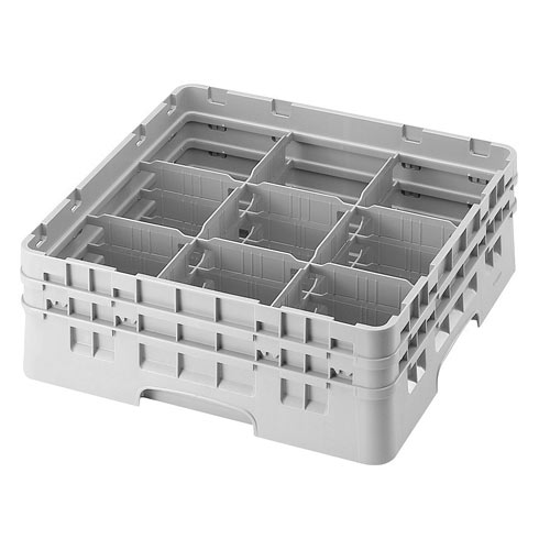 "Cambro Full Size Camrack Glass Rack - 9 Compartment - 5 1/4"" H 9S434"