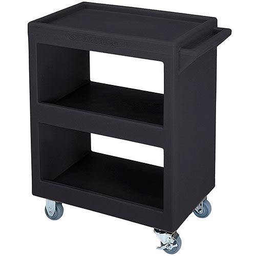 Cambro Open Service Cart - 350 lbs, Black, 2 fixed, 2 swivel Casters BC225110