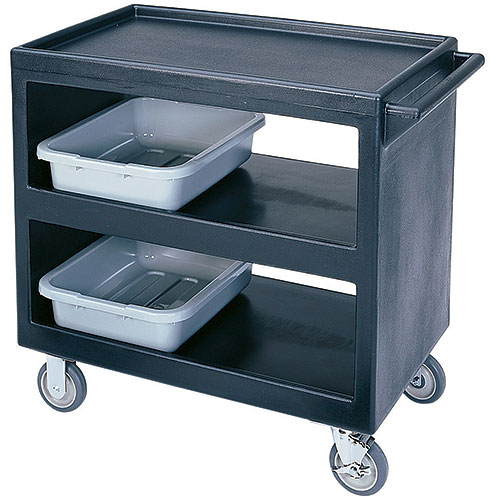 "Cambro Open Service Cart - 33 1/4"", 500 lbs, Black, 2 fixed, 2 swivel Casters BC235110"