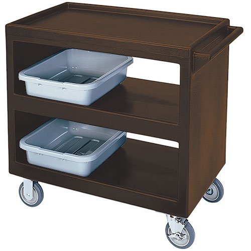 "Cambro Open Service Cart - 33 1/4"", 500 lbs, Dark Brown, 2 fixed, 2 swivel Casters BC235131"