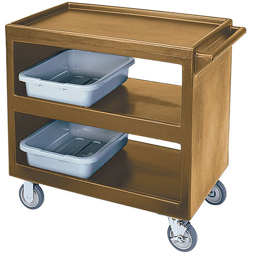 "Cambro Open Service Cart - 33 1/4"", 500 lbs, Coffee Beige, 2 fixed, 2 swivel Casters BC235157"