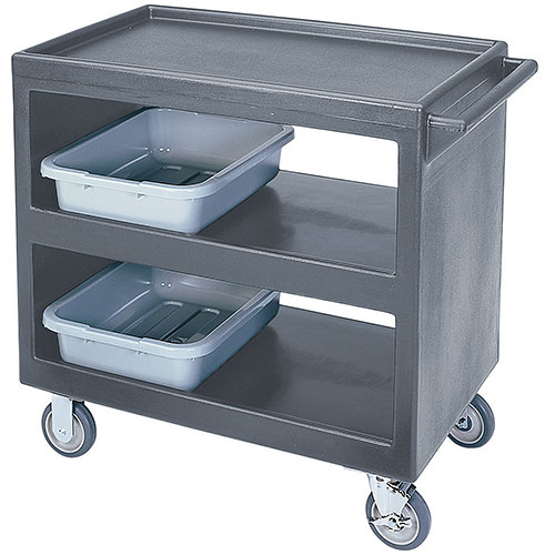 "Cambro Open Service Cart - 33 1/4"", 500 lbs, Granite Gray, 2 fixed, 2 swivel Casters BC235191"