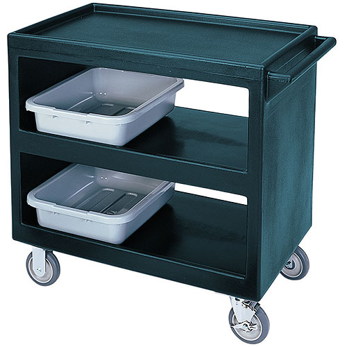 "Cambro Open Service Cart - 33 1/4"", 500 lbs, Granite Green, 2 fixed, 2 swivel Casters BC235192"
