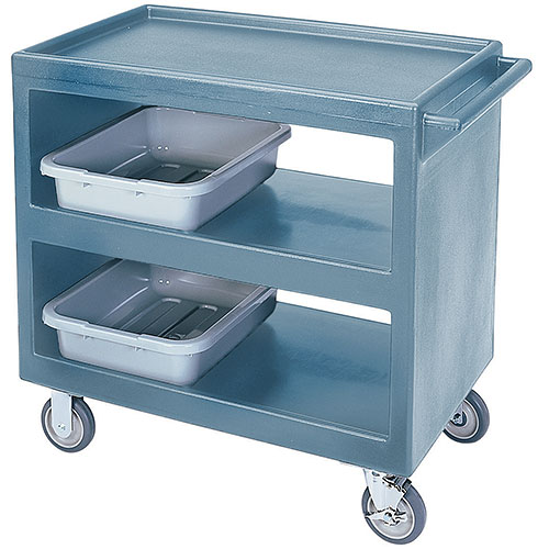 "Cambro Open Service Cart - 33 1/4"", 500 lbs, Slate Blue, 2 fixed, 2 swivel Casters BC235401"