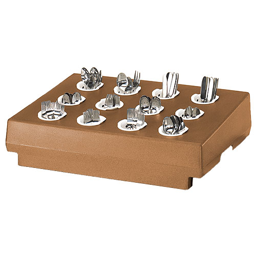 Cambro 12 Compartment Cutlery Rack Only - Coffee Beige CR12157