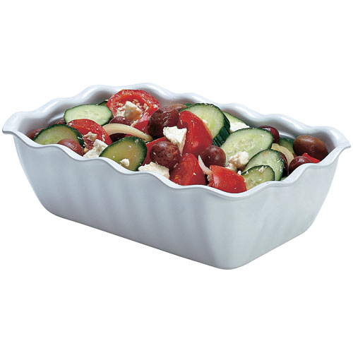 Cambro Rectangular Scalloped White Deli Crock - 2.2 qt DC5148