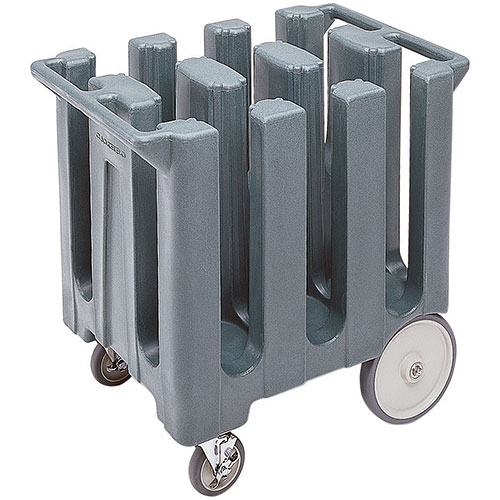 "Cambro Poker Chip Style Dish Caddy - 7"" Max, 6 Columns, Granite Gray DC700191"