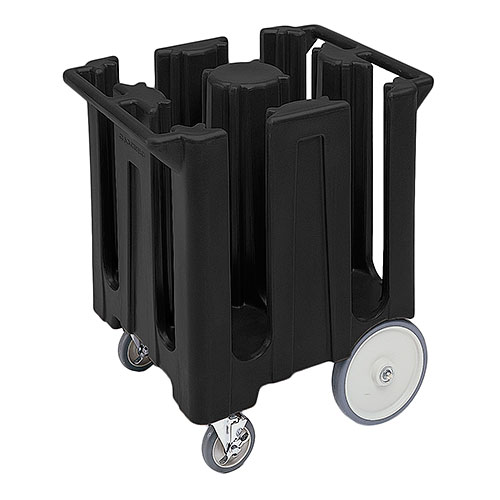 "Cambro Poker Chip Style Dish Caddy - 8 1/4"" Max, 4 Columns, Black DC825110"