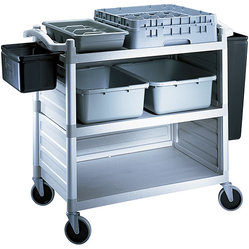 Cambro Single Shelf Panel Set for KD Utility Cart - Speckled Gray BC340KDP480 2