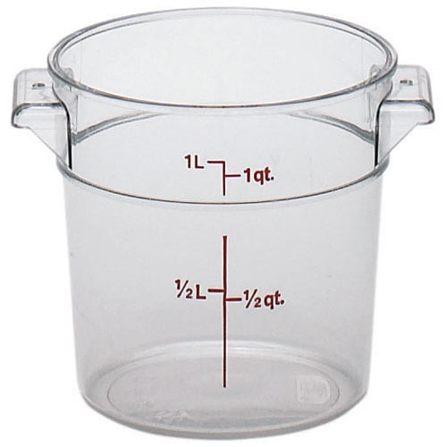Cambro Camwear Rounds Storage Container- 1 qt Clear RFSCW1135