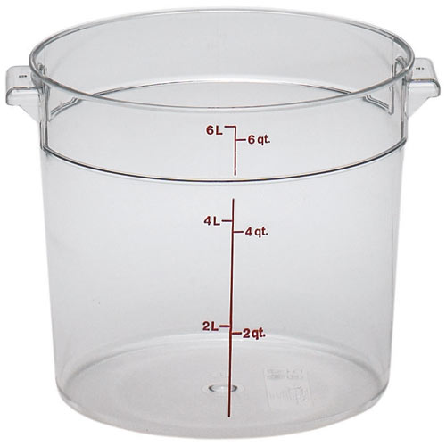 Cambro Camwear Rounds Storage Container- 6 qt Clear RFSCW6135