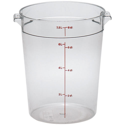 Cambro Camwear Rounds Storage Container- 8 qt Clear RFSCW8135