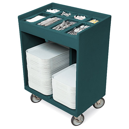 Cambro Tray & Silver Cart - Granite Green TC1418192