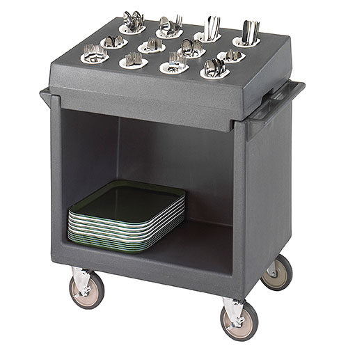 Cambro Tray & Dish Cart w/ Cutlery Rack - Granite Gray TDCR12191