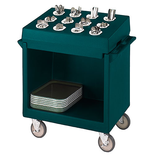 Cambro Tray & Dish Cart w/ Cutlery Rack - Granite Green TDCR12192