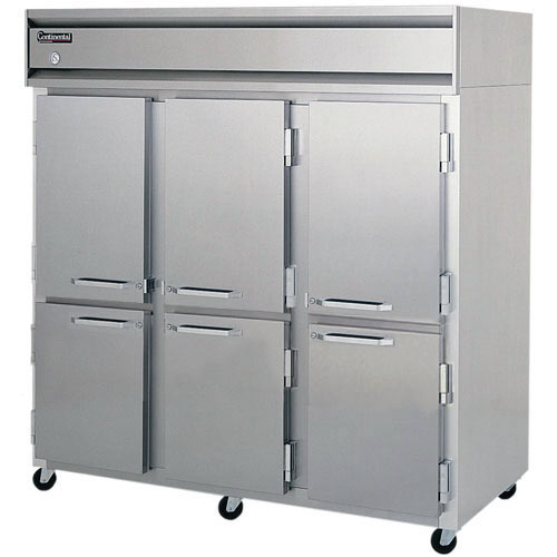 Continental Refrigerator Value Line Standard Solid Half Door Pass-Thru Freezers - 3 section 3F-PT-HD