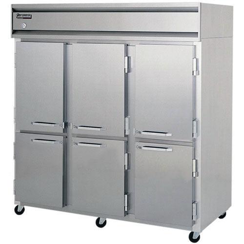Continental Refrigerator Value Line Solid Half Door Reach-In Refrigerators - 3 section 3R-HD