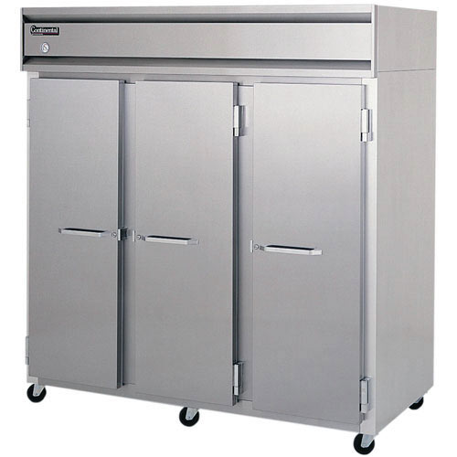 Continental Refrigerator Value Line Standard Solid Door Reach-In Refrigerators - 3 section 3R