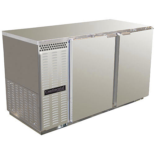 """Continental Refrigerator Back Bar Cooler Solid Door Stainless Steel 2-section- 50"""" BBC50-SS"""