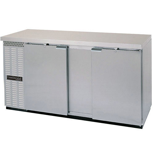"Continental Refrigerator Back Bar Cooler Solid Door Stainless Steel 2-section- 69"" BBC69-SS"