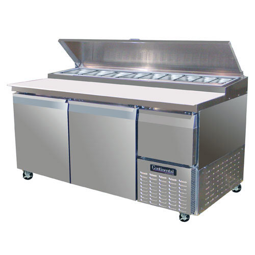 "Continental Refrigerator Forced Air Pizza Preparation Table w/ Drawers - 68""  CPA68-D"