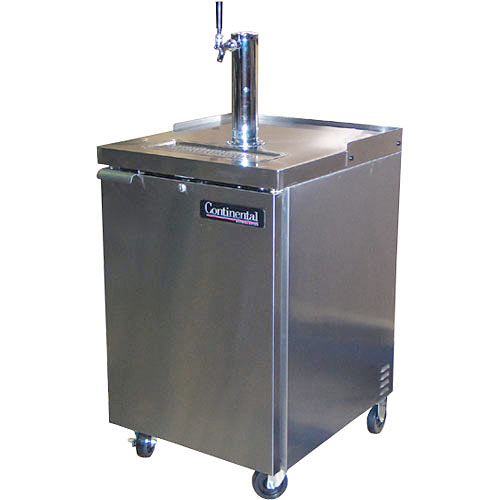 "Continental Refrigerator Draft Beer Dispenser 24"" 1 Keg Capacity Stainless Steel KC24-SS"