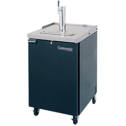 """Continental Refrigerator Draft Beer Dispenser 24"""" 1 Keg Capacity Black Finish KC24"""