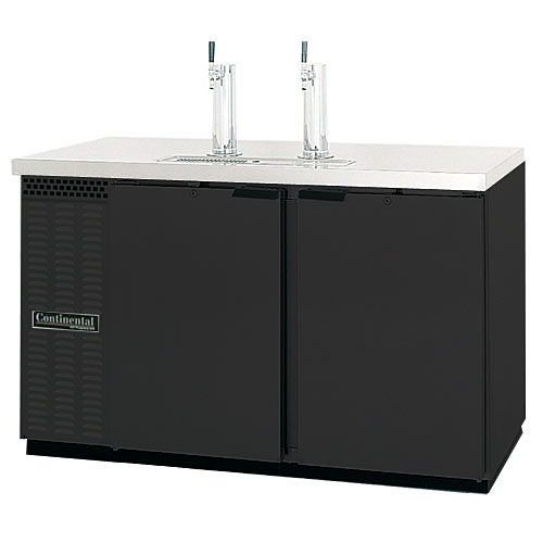 """Continental Refrigerator Draft Beer Dispenser 59"""" 2 Keg Capacity Black Finish KC59"""
