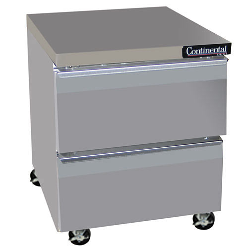 "Continental Refrigerator Standard Line 27"" Worktop Refrigerator w/ 2 Drawers- 1 section SW27-D"